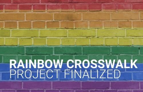 rainbow coloured bricks with Rainbow Crosswalk Project Finalized writting infront in text
