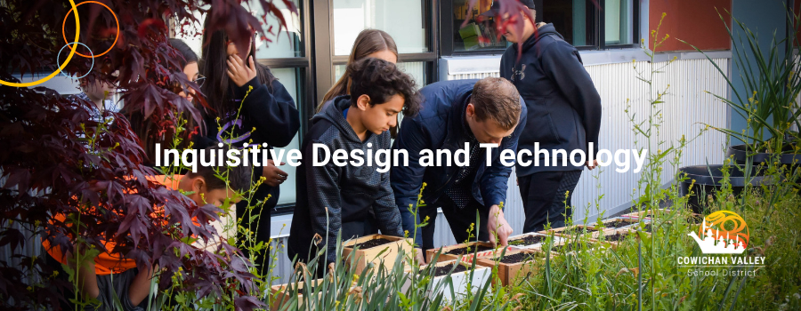 In the background a group of students and teacher work on flower boxes. They are viewed through the trees and grass. Inquisitive Design and Technology is superimposed on top